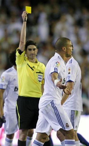 Real Madrid's Pepe From Portugal, Reacts