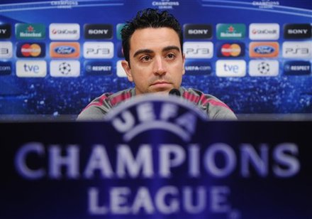FC Barcelona's Xavi Hernandez attends a press conference at the Nou Camp stadium in Barcelona, Spain, Monday, May 2, 2011. FC Barcelona will play against Real Madrid on Tuesday in a semifinal, second leg Champions League soccer match.