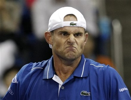 Andy Roddick Of The United States Reacts