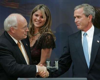 President Bush shakes hands with Vice President Dick Cheney ...