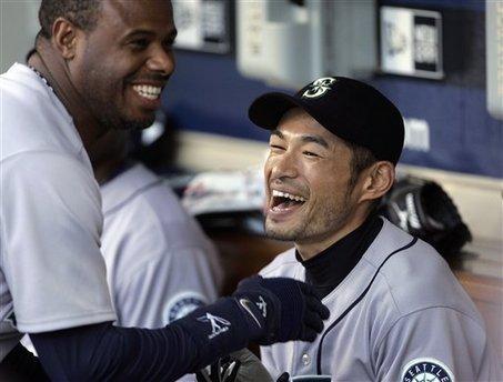 Ken Griffey Jr. Ichiro Suzuki laugh