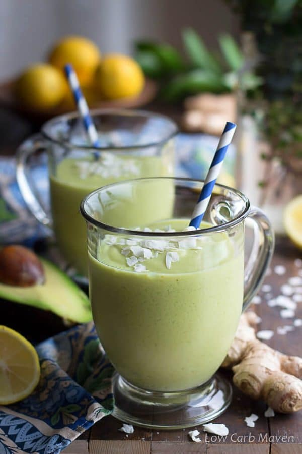 low carb keto green smoothie with avocado, lemon, ginger and coconut.