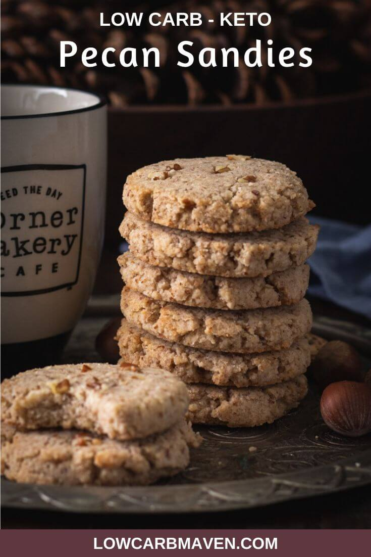 Everyone loves buttery pecan sandies. This keto cookie recipe uses low carb ingredients to achieve the tender crispy shortbread texture we expect in a butter pecan cookie. You'd never know it's a gluten free and sugar free cookie!