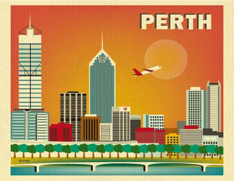 Perth Australia Skyline 11 X 14 Poster Wall City Art For