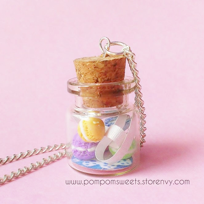 Pastel Macaroons in a Bottle Necklace by Pom Pom Sweets