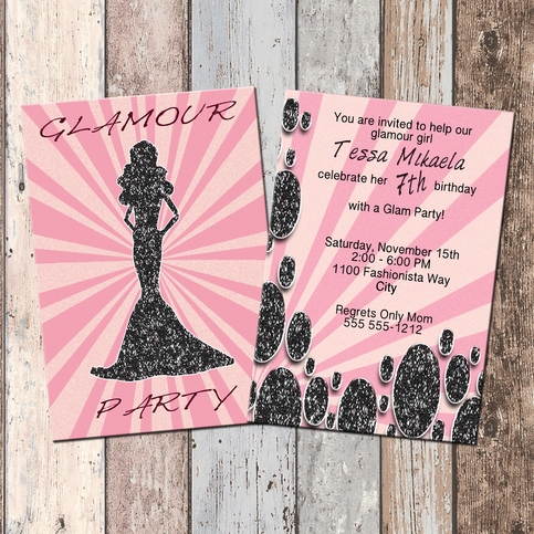 barbie glamour party personalized birthday invitation 2 sided birthday card party invitation glam party barbie party scg designs