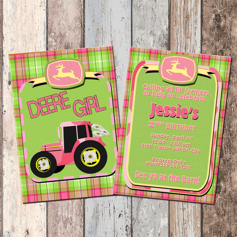 john deere tractor girl personalized birthday invitation 2 sided birthday card party invitation john deere party