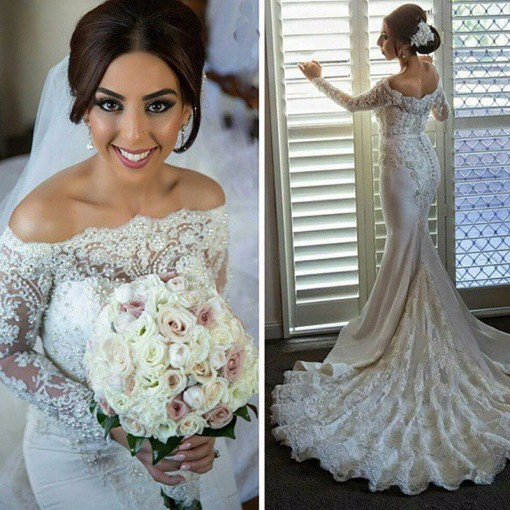Mermaid Wedding Dress With Sleeves Dresses For Brides Bridal Gown     Mermaid Wedding Dress With Sleeves Dresses For Brides Bridal Gown