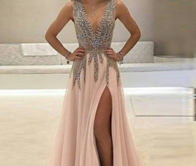 Sexy Prom Dress With Slit Skirt Ball Gown Evening Dressbirthday