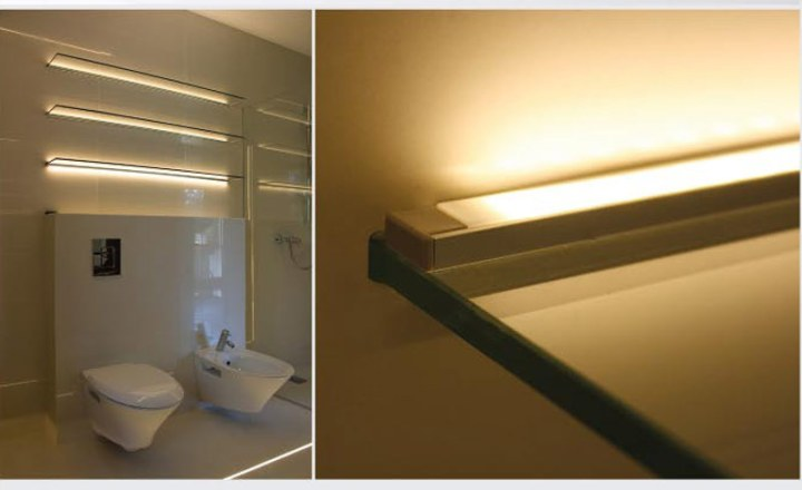 Anodized Aluminum Surface Mount LED Profile Housing for LED Strip     Bathroom LED accent lighting on shelves using LED strips housed in Surface  Mount Anodized Aluminum Klus LED Profile Housing
