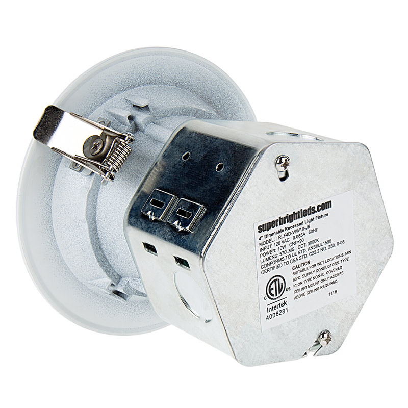 4 led retrofit downlight recessed downlight with junction box and baffle trim 60w equivalent dimmable 650 lumens