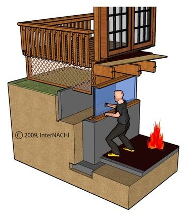 Deck obstructing emergency egress.
