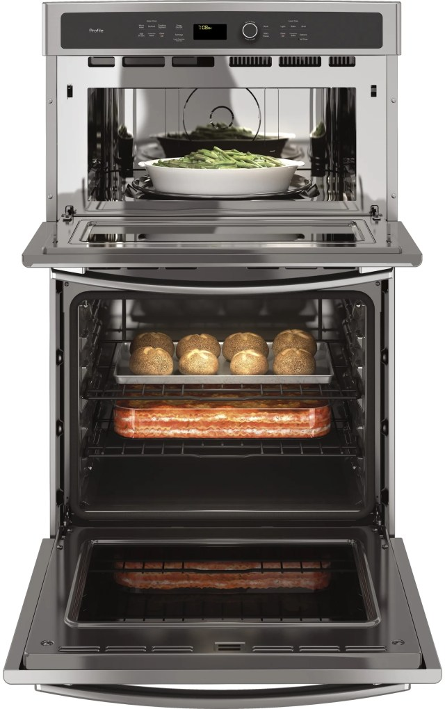 ge profile 26 75 stainless steel built in combination convection microwave convection wall oven pk7800skss
