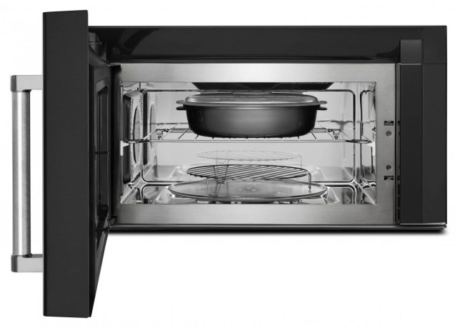 kitchenaid 1 9 cu ft black stainless steel with printshield finish over the range microwave hood combination kmhc319ebs