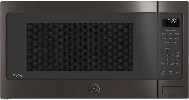 ge profile 2 2 cu ft black stainless steel countertop sensor microwave oven pes7227blts