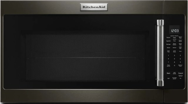 kitchenaid 2 0 cu ft black stainless steel with printshield finish over the range microwave kmhs120ebs