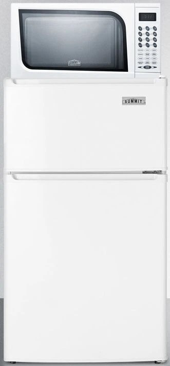 summit white top freezer refrigerator and countertop microwave combination mrf351w