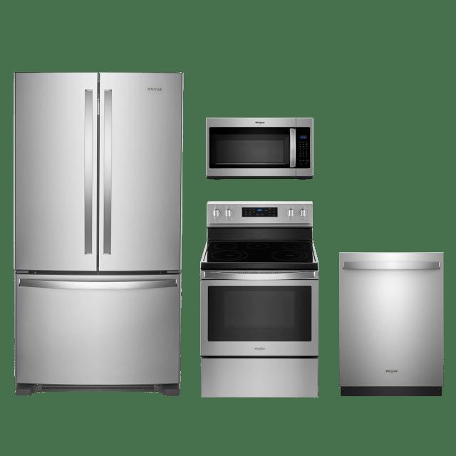 whirlpool 4 piece kitchen package fingerprint resistant stainless steel wrf535swhzwfe550s0hzwmh31017hzwdt750sahz