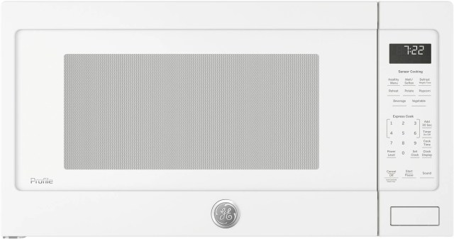 ge profile 2 2 cu ft white countertop sensor microwave oven pes7227dlww