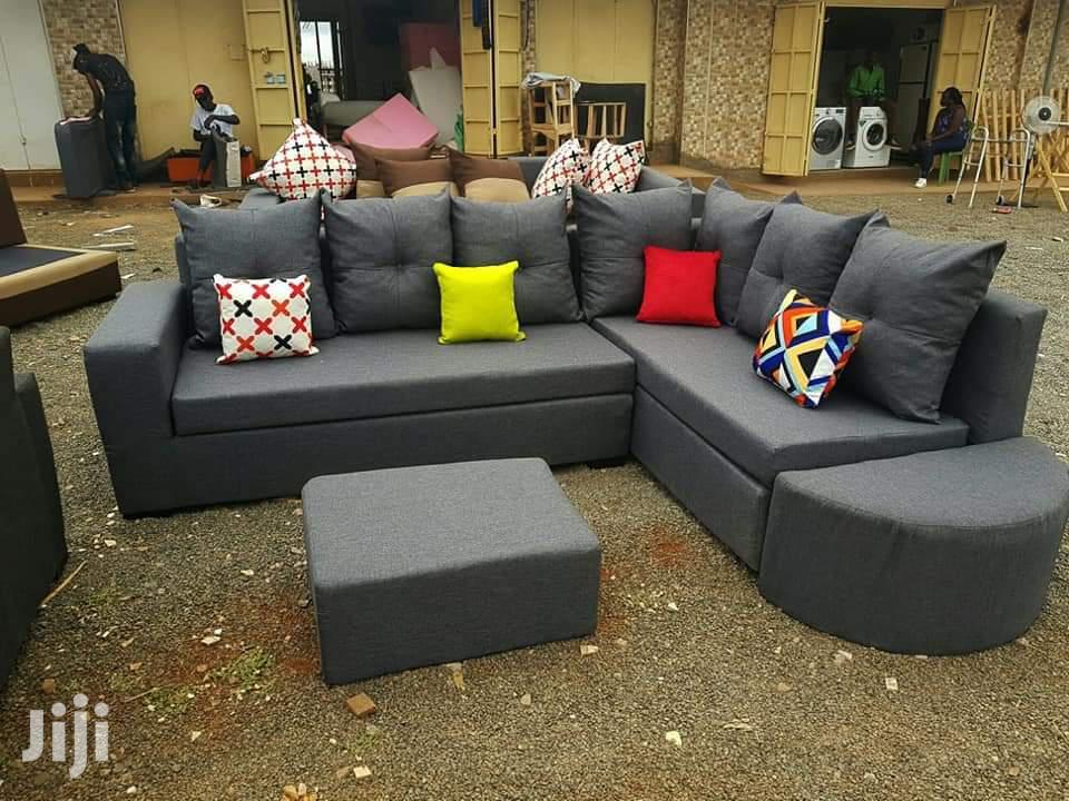 l shape sofa set with a footrest