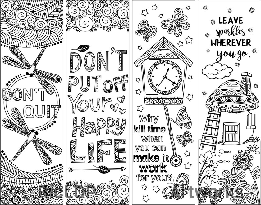 8 coloring bookmarks  quotes  ricldp artworks