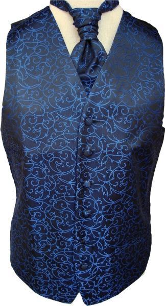 Mens BlackRoyal Blue Swirl Pattern Waistcoat Wwo Cravat