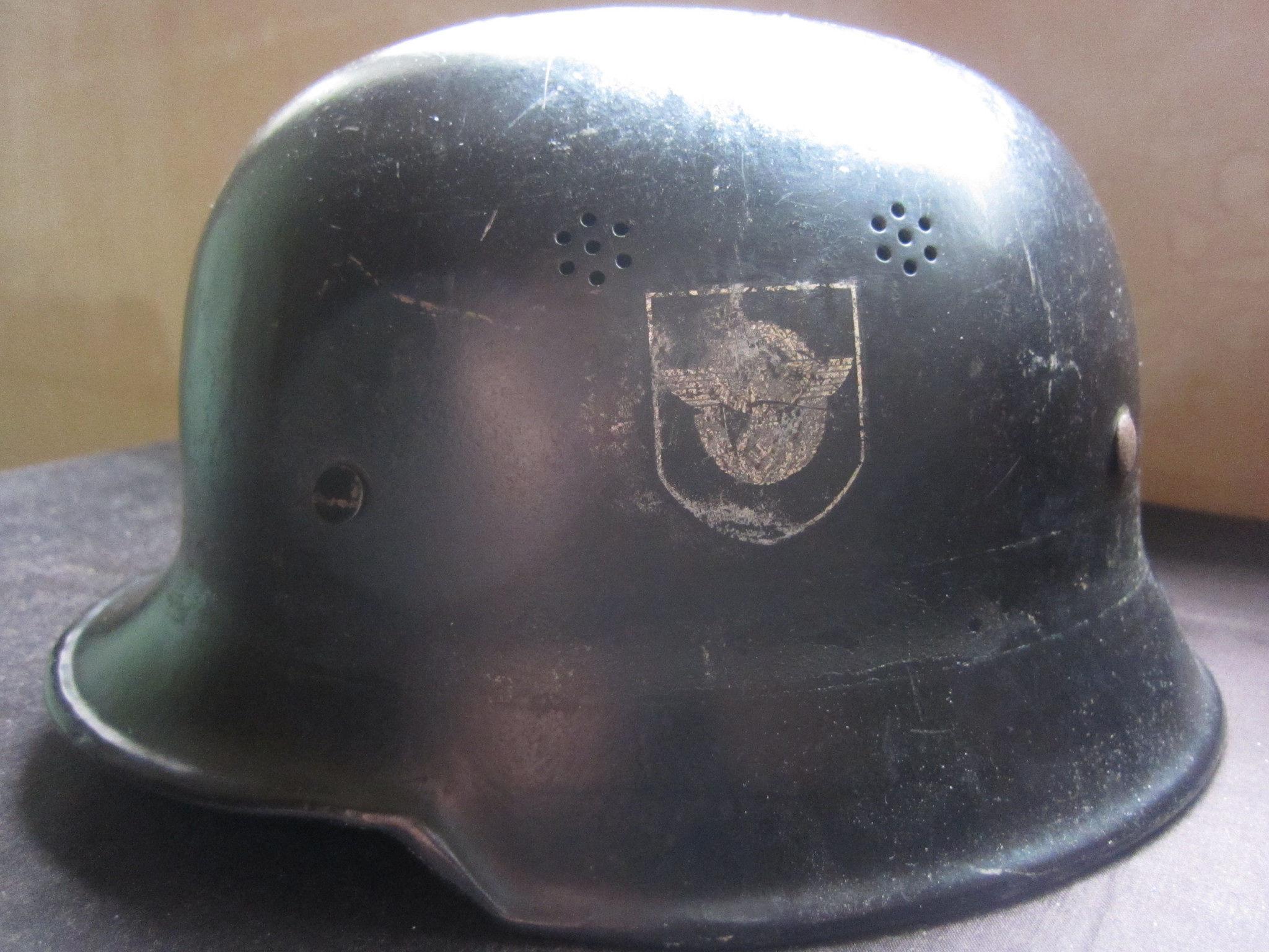 Original Ww2 German Helmet Feuerpolizei Fire Police With
