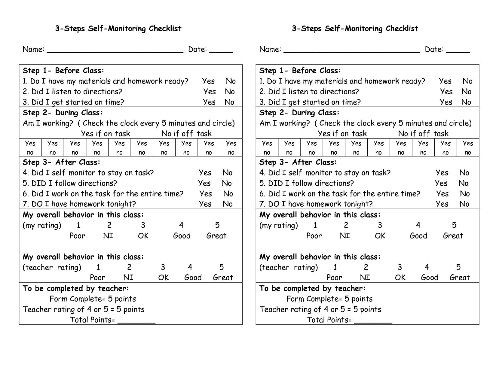 Functional Daily Skills Worksheet