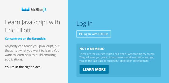 Learn JavaScript with Eric Elliott - Login Page
