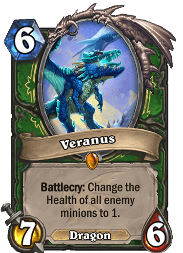 Veranus, is an elite proto-dragon and broodmother of the proto-drakes located in The Storm Peaks in World of Warcraft lore. In upcoming Hearthstone expansion Descent of Dragons, Veranus bolsters the Hunter class' repertoire as a Legendary Dragon minion with a powerful Battlecry.