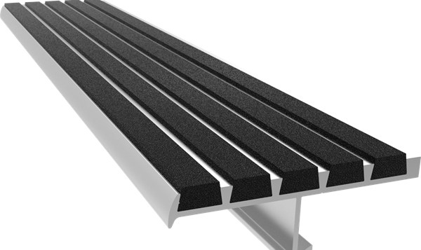 48 Ribbed Bar Abrasive Stair Nosing Nystrom | 48 Inch Outdoor Stair Treads | Unfinished Pine | Nose Stair | Mat | Rubber Stair | Non Slip