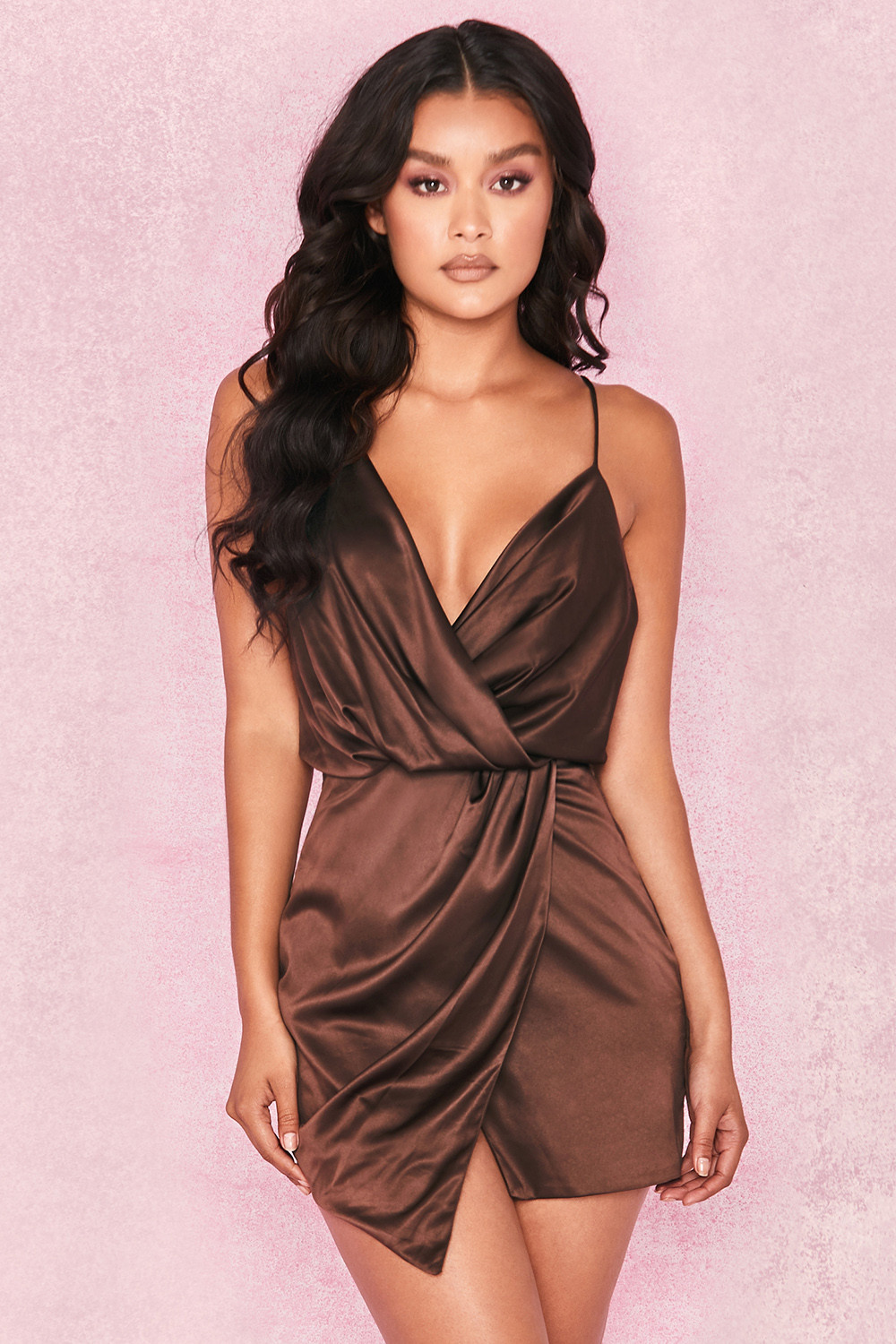 HOUSEOFCB – ROBE TAUPE SATIN