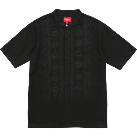 Embroidered Band Collar S/S Shirt (Black)