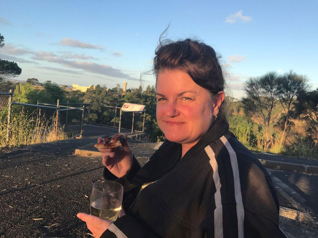 Megan pizza and wine at Leg of Mutton Lookout, Mount Gambier