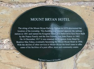 Mount Bryan Hotel Plaque