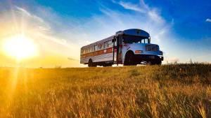 Bus epic sunset