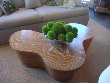 organic striped wood coffee table