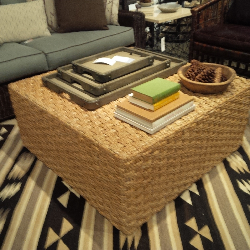 square seagrass coffee table ottoman