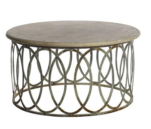 salinas round coffee table with light travertine top