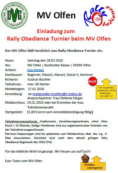 Turnier - Rally Obedience - DVG MV Olfen @ DVG MV Olfen e.v: