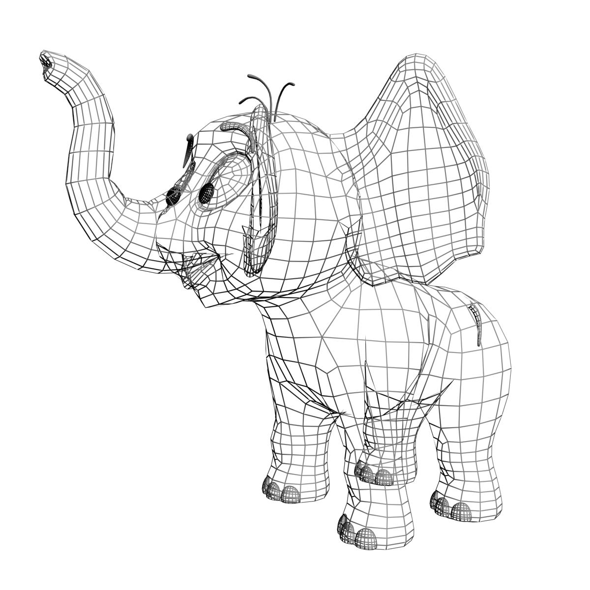 Cartoon Baby Elephant Rigged 3d Model