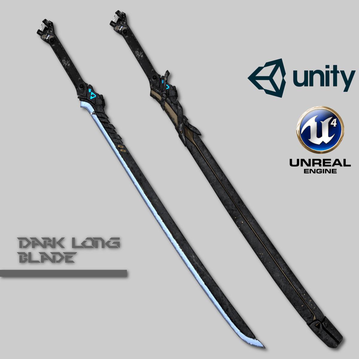 Dark Long Blade 3d Model