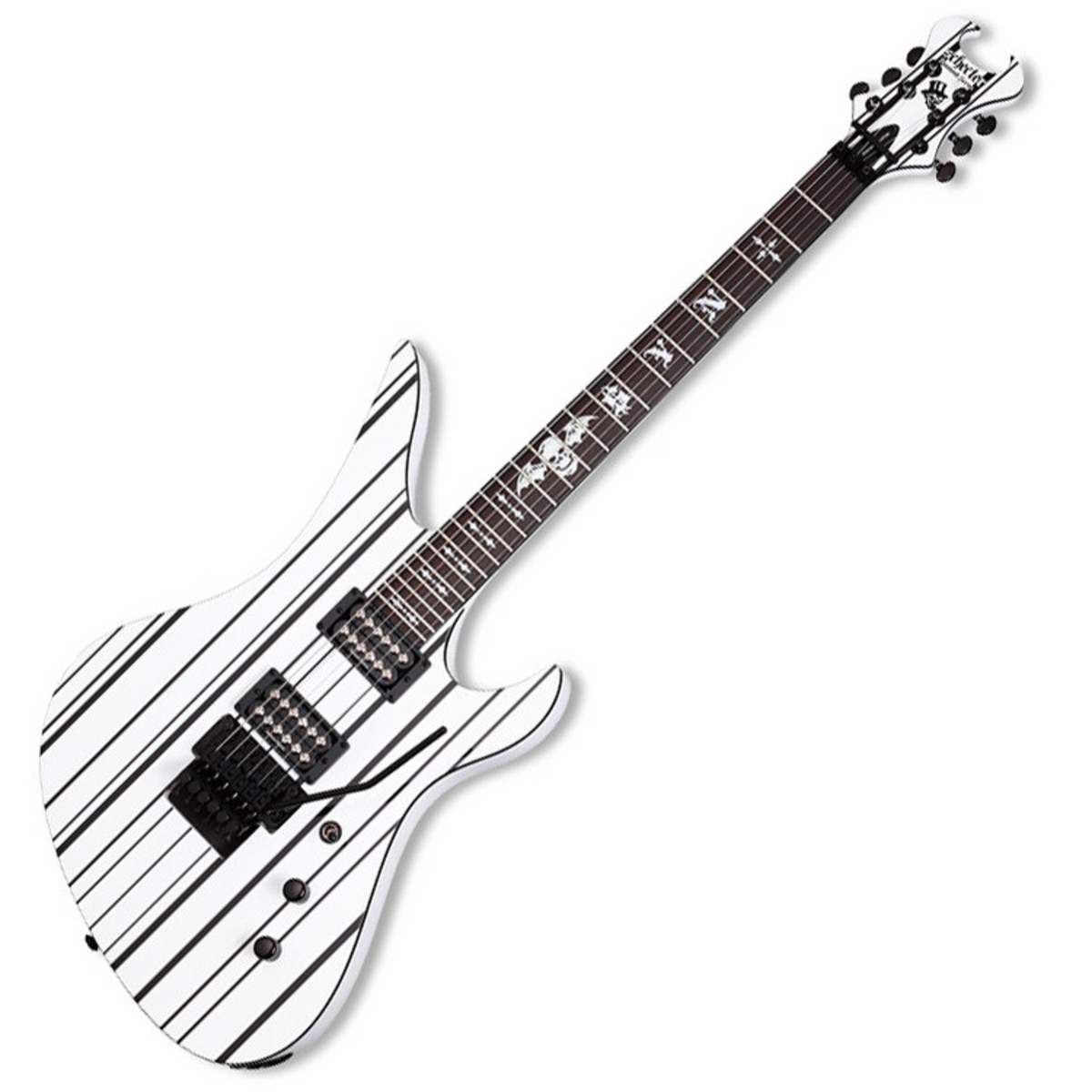Disc Schecter Synyster Gates Custom Electric Guitar White Black A Gear4music