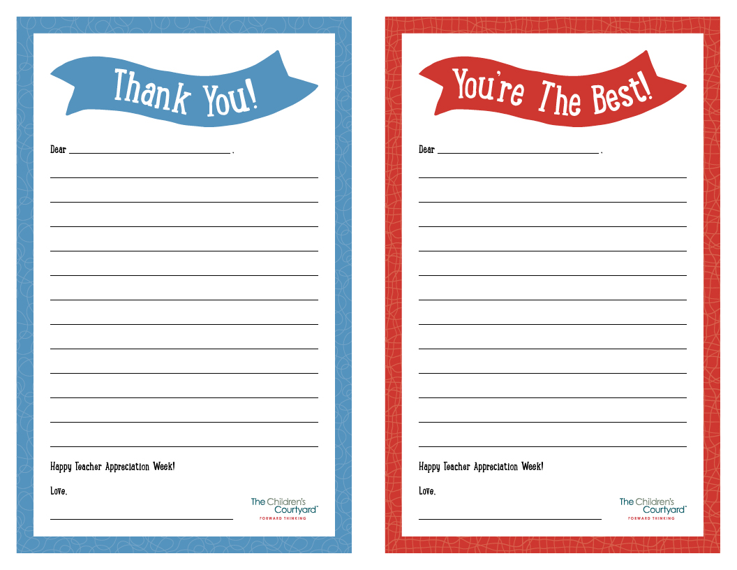 Teacher Appreciation Week Printable Thank You Notes