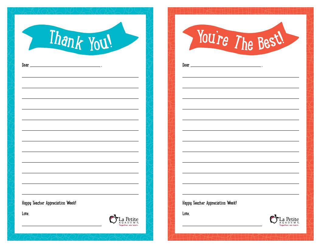 Teacher Appreciation Week Free Printable Thank You