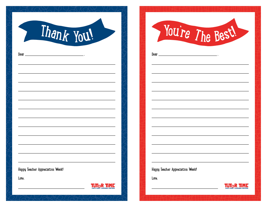 Printable Thank You Notes For Teacher Appreciation Week