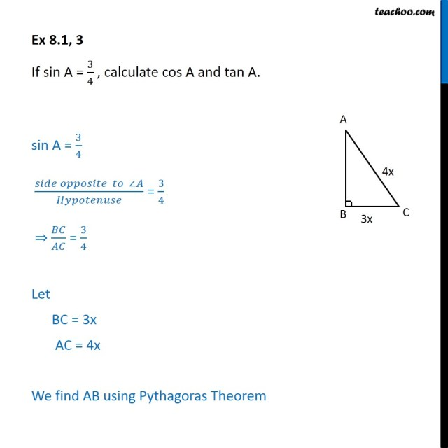 Ex 20.20, 20 - If sin A = 20/20, calculate cos A and tan A. - Ex 20.20