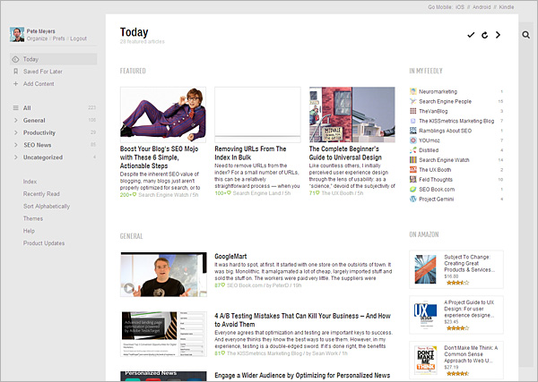 Feedly's Today page