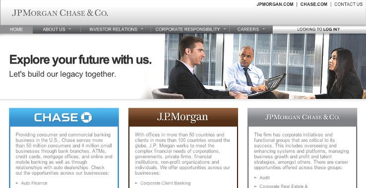 JPMorgan and Chase's hiring page