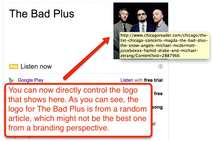 customizing a band's knowledge graph result